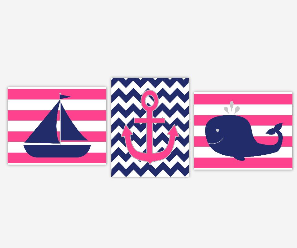 Nautical Girl Nursery Art Hot Pink Navy Blue SaiLboat Boat Anchor Whale Fish Girl Bedroom Prints Bath Baby Nursery Decor SET OF 3 UNFRAMED PRINTS 00805