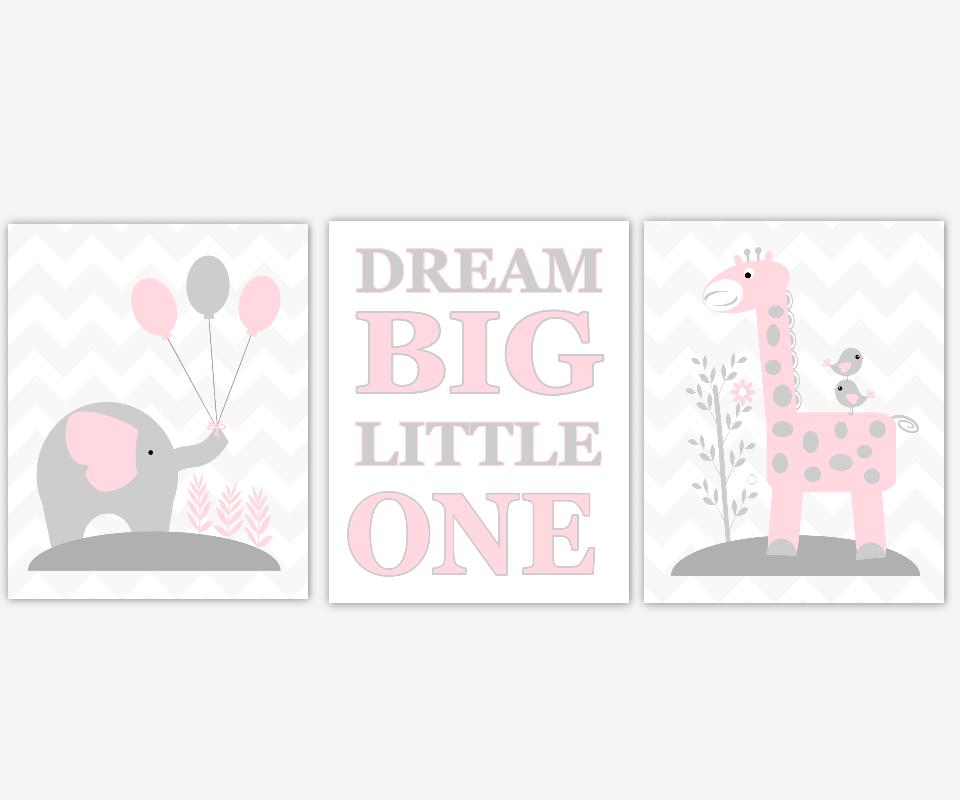 Baby Girl Nursery Art Set Of 3 Prints Pink /& Grey Elephants /& Giraffe/'s