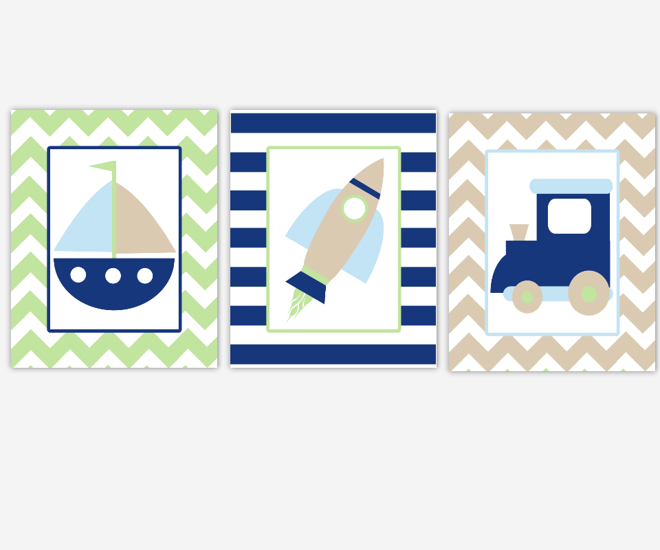 Boy Nursery Wall Art Navy Blue Green Train Sailboat Boat Nautical Dream Big Little One Boy Quotes Chevron Baby Nursery Decor SET OF 3 UNFRAMED PRINTS 00841