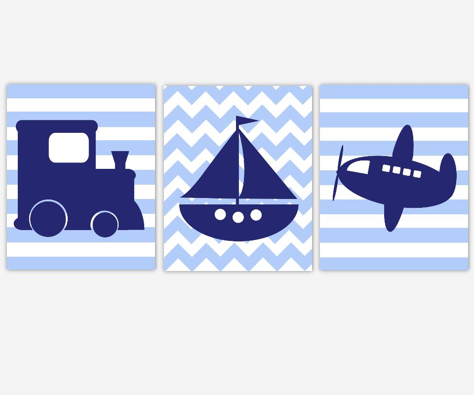 Boy Nursery Wall Art Navy Blue Transportation Train Sailboat Boat Airplane Plane Toddler Bedroom Baby