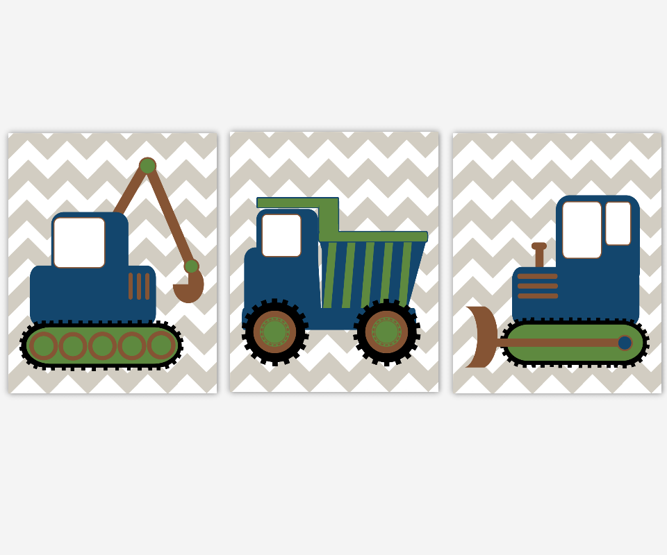 Boys Room Wall Art Construction Trucks Blue Green Gray Grey Prints Tractor Dump Truck Bulldozer Toddler Boy Room Baby Nursery Decor  SET OF 3 UNFRAMED PRINTS