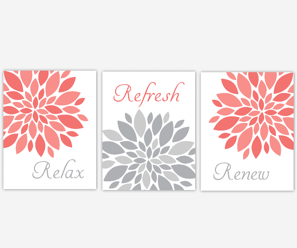 Coral Gray Bath Wall Art Flower Burst Dahlia Mums Modern Floral Decor Relax Refresh Renew Spa Bath Rules SET OF 3 UNFRAMED PRINTS