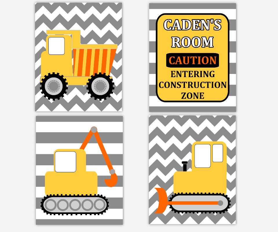 Boy Nursery Wall Art Construction Trucks Personalized Prints Dump Truck Tractor Bulldozer Warning Construction Zone Toddler Boy Room Baby Nursery Decor SET OF 4 UNFRAMED PRINTS 00904