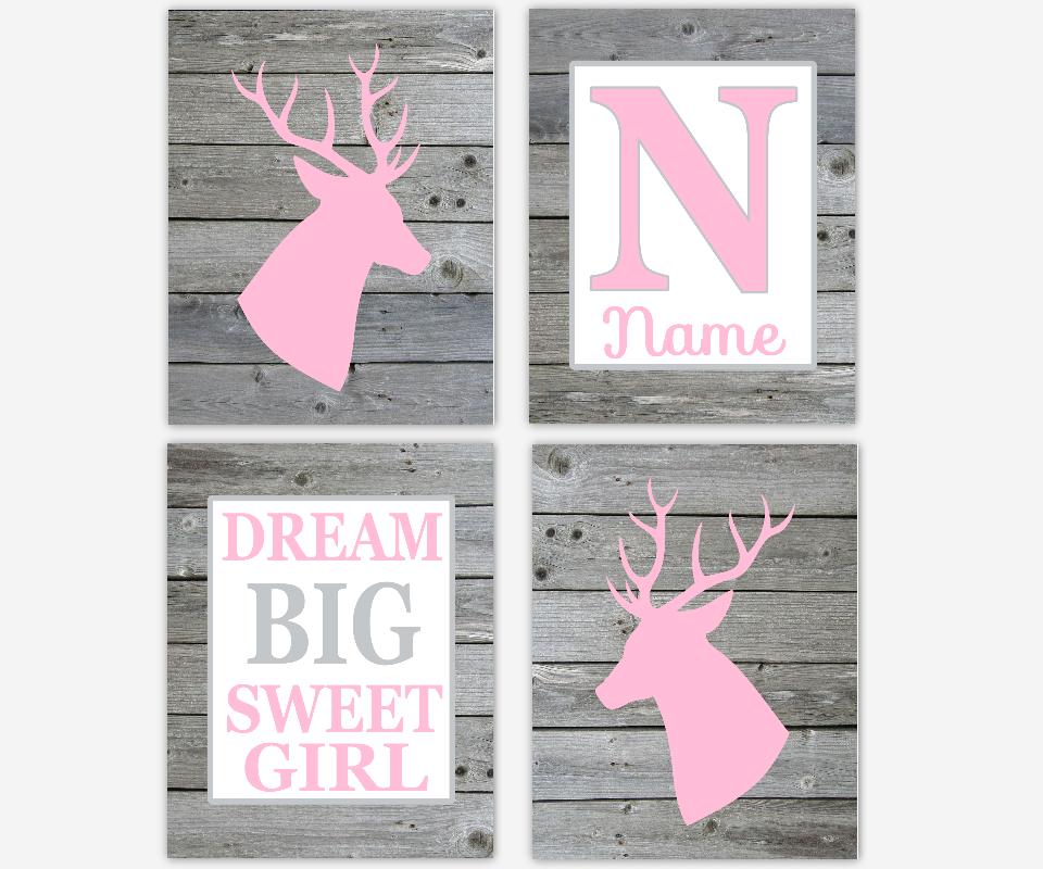 Baby Girl Nursery Wall Art Deer Antlers Pink Gray Dream Big Sweet ...