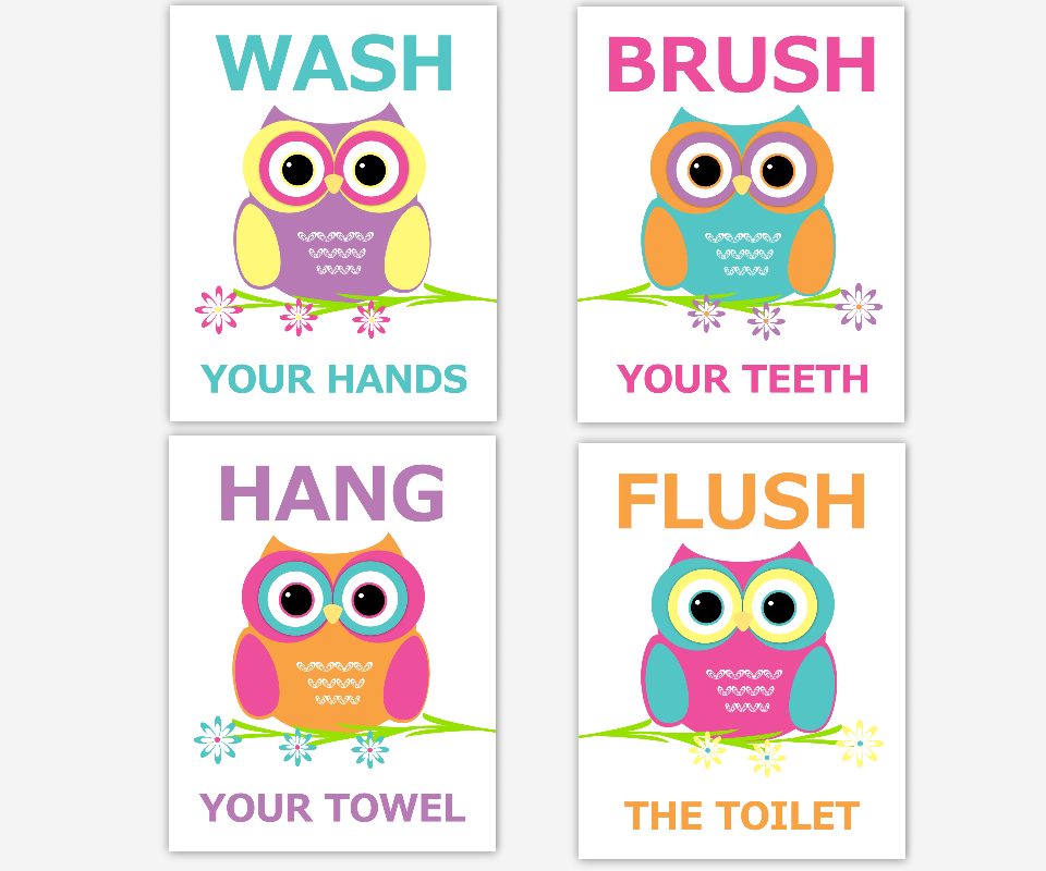 Owl Kids Bath Wall Art Teal Orange Pink Yellow Purple Wash Brush Hang Flush Teeth Hands Towel Toilet Bathroom Rules Children Prints