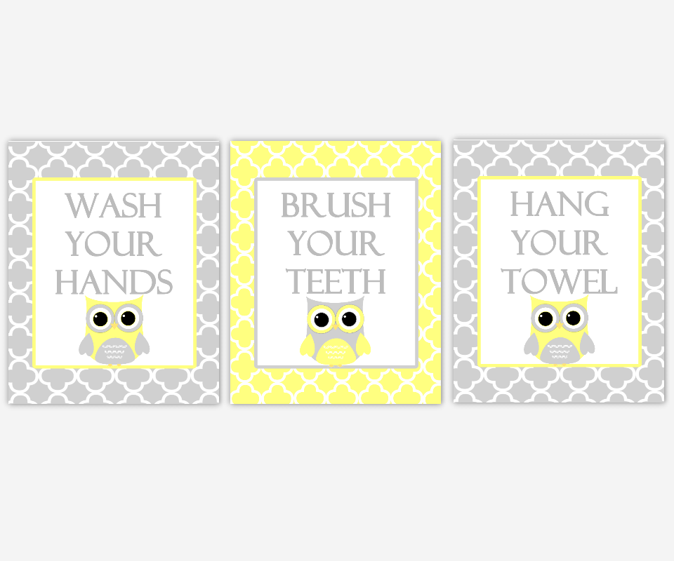 Kids Bath Wall Art Owls Yellow Gray Grey Wash Your Hands Brush Your Teeth Hang Your Towel Children Bathroom Rules SET OF 3 UNFRAMED PRINTS 00955
