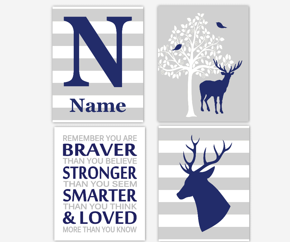 Baby Boy Nursery Wall Art Navy Blue Gray Deer Antlers Personalized Name Print Remember You Are Braver SET OF 4 UNFRAMED PRINTS