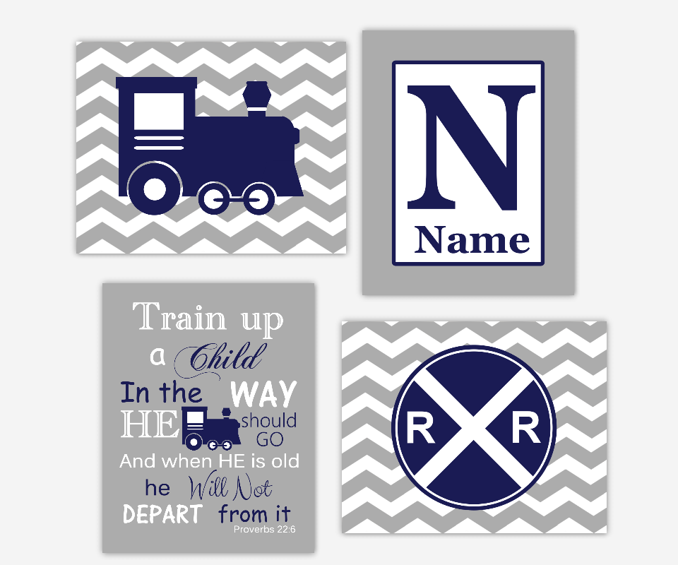 Baby Boy Nursery Wall Art Navy Blue Gray Train Railroad Sign Train Up Proverb Personalized Chevron Toddler Boy Bedroom SET OF 4 UNFRAMED PRINTS