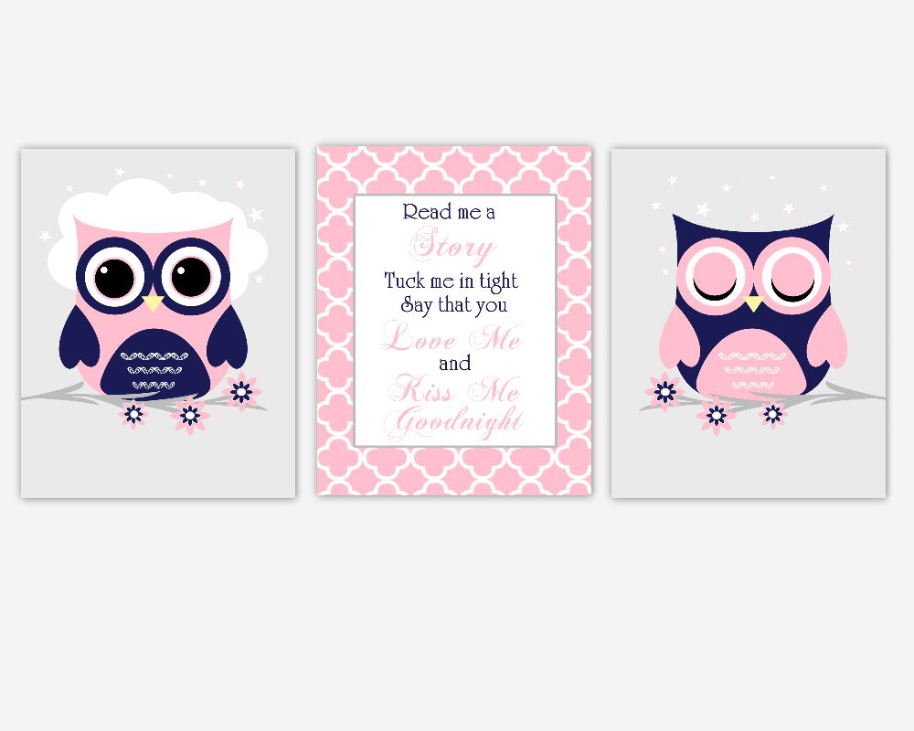 Baby Girl Nursery Wall Art Navy Blue Pink Owls Read Me A Story Nursery  Rhymes Songs Quotes Baby Nursery Decor SET OF 3 UNFRAMED PRINTS
