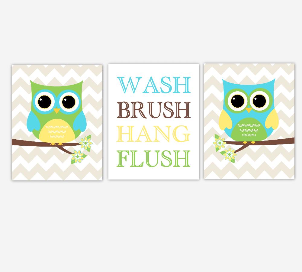 Owl Bath Wall Art Yellow Green Turquoise Teal Blue Kids Bathroom Prints Wash Brush Hang Flush Children Bathroom Rules SET OF 3 UNFRAMED PRINTS 01003