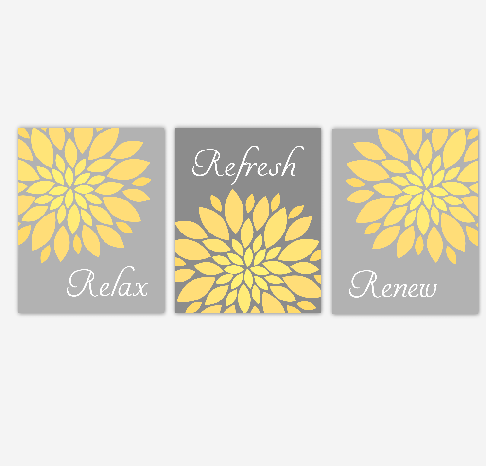 Bathroom Wall Art Yellow Gray Flower Burst Dahlia Mums Spa Bath ...