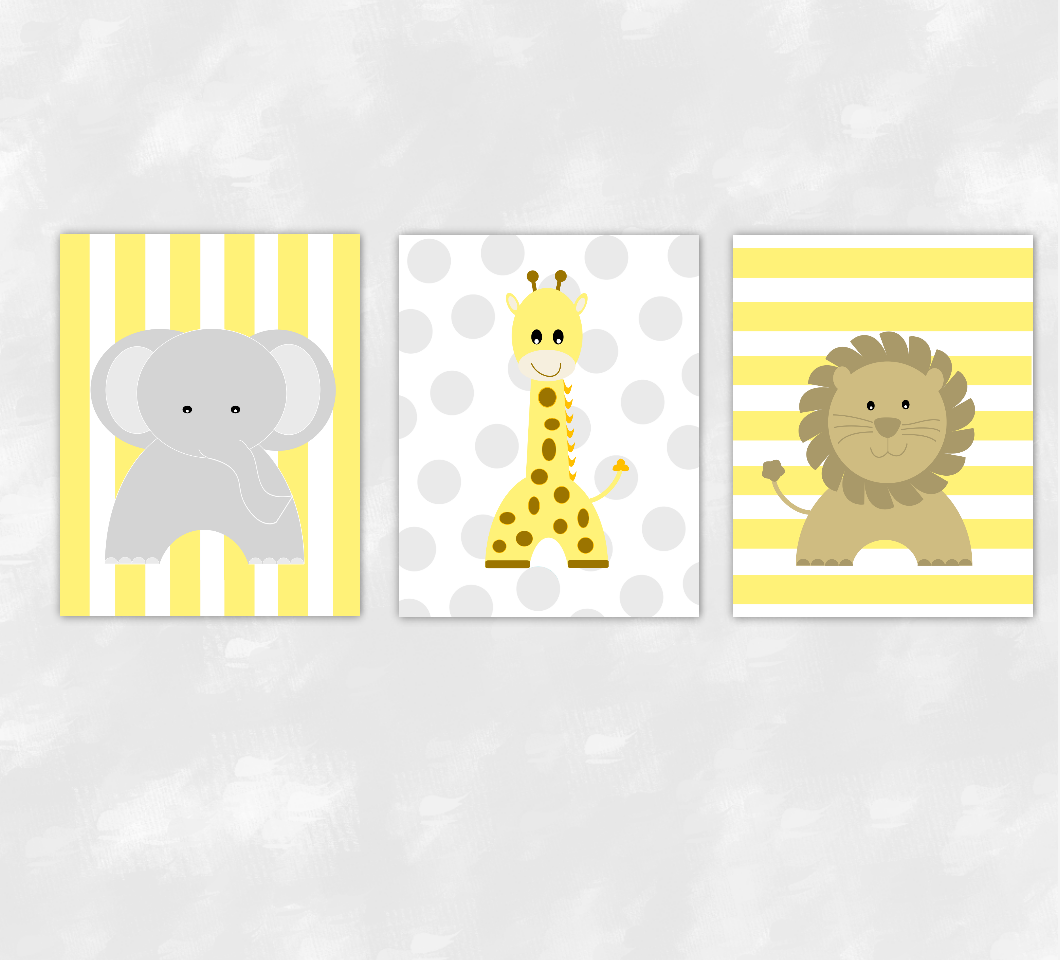 Baby Nursery Wall Art Grey Yellow Gray Elephants Giraffes Lions ...