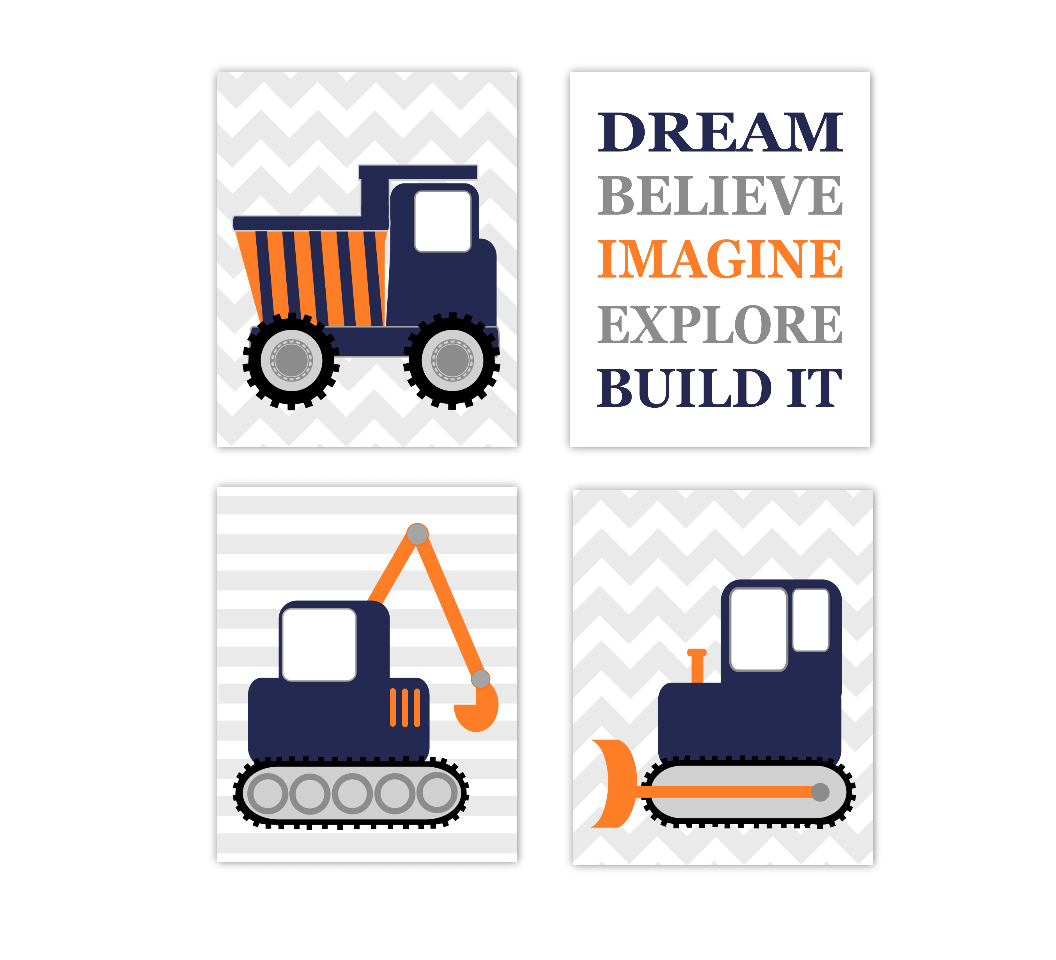 Baby Boy Nursery Art Construction Trucks Navy Blue Orange Tractor Dump Truck Dream Believe Imagine Explore Build Toddler Boy Bedroom SET OF 4 UNFRAMED PRINTS