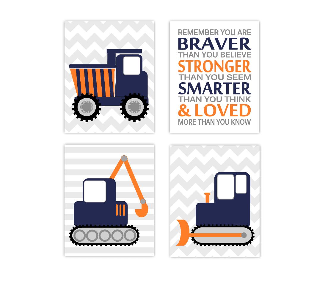 Baby Boy Nursery Art Construction Trucks Navy Blue Orange Tractor Dump Truck Remember You Are Braver Toddler Boy Bedroom SET OF 4 UNFRAMED PRINTS 01216