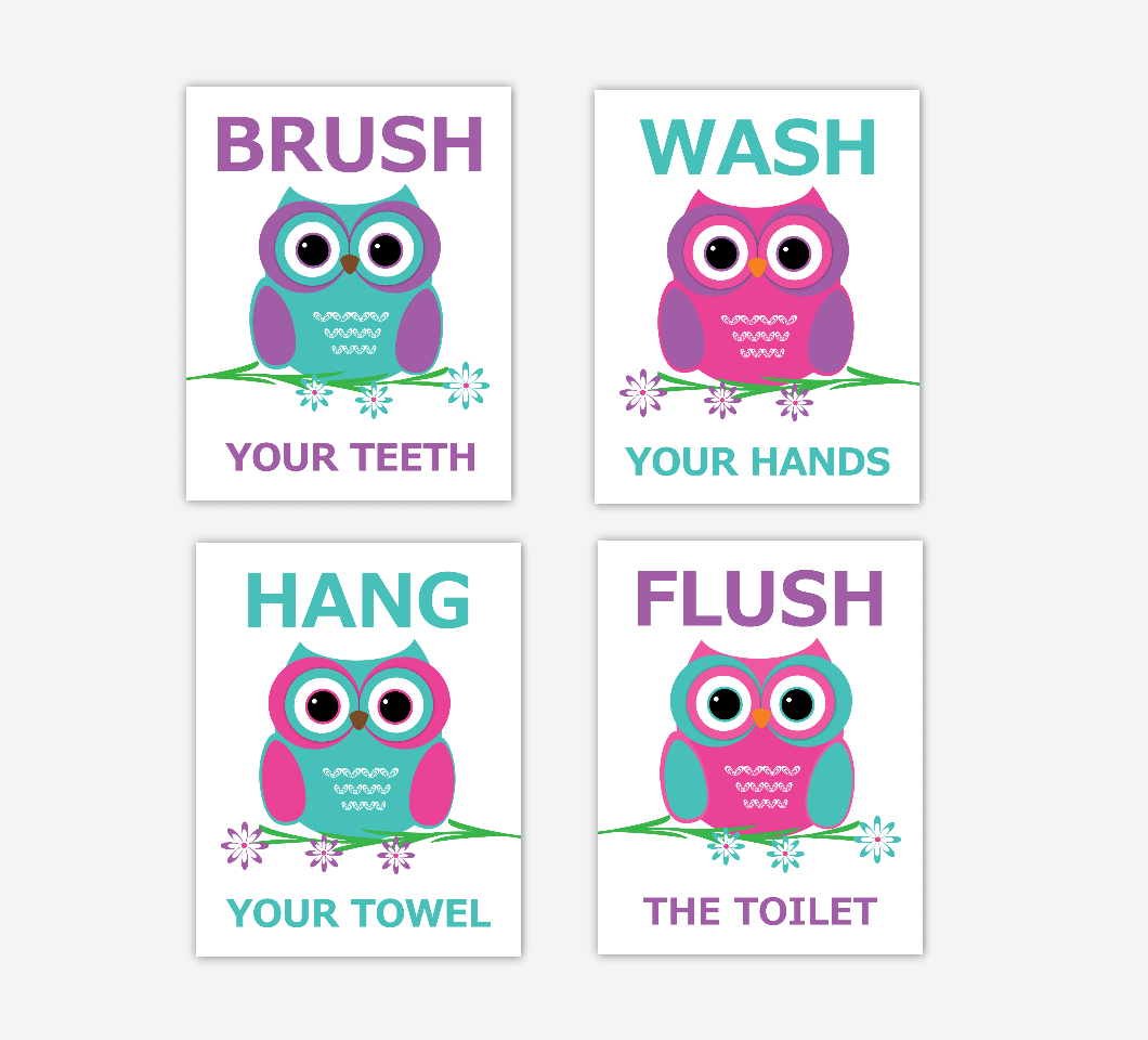 Owls Kids Bath Art Purple Teal Pink Brush Wash Hang Flush Bath Rules Decor SET OF 4 UNFRAMED PRINTS 01220