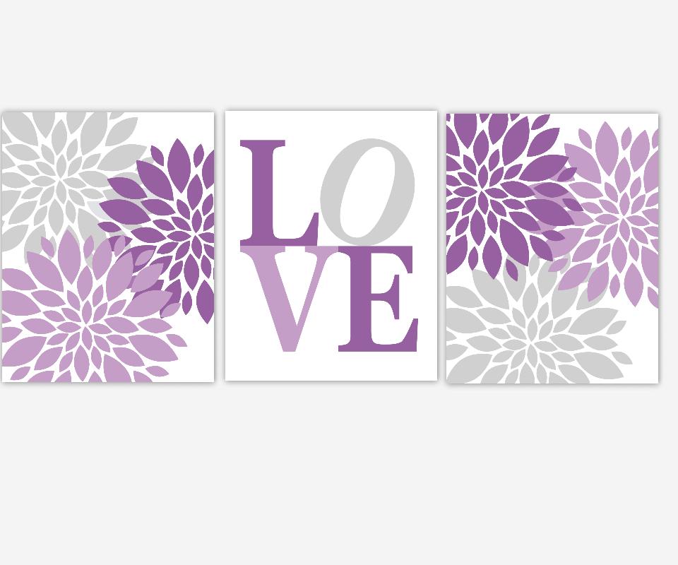 PURPLE Baby Nursery Wall Art Lavender Gray Purple Flower Bursts ...