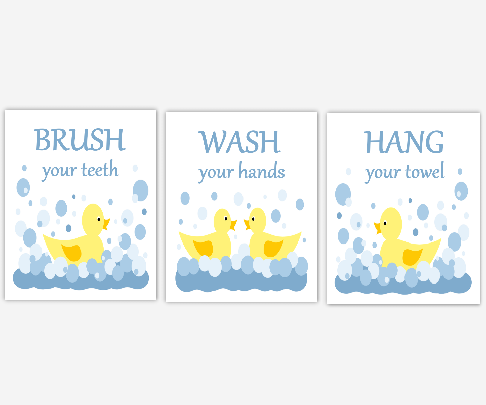 RUBBER DUCK Kids Bathroom Wall Art Rubber Ducky Yellow Blue Brush Your Teeth Hang Your Towel Wash Your Hands Bath Rules Childrens Bath Prints Bath Home Decor SET OF 3 UNFRAMED PRINTS 00452