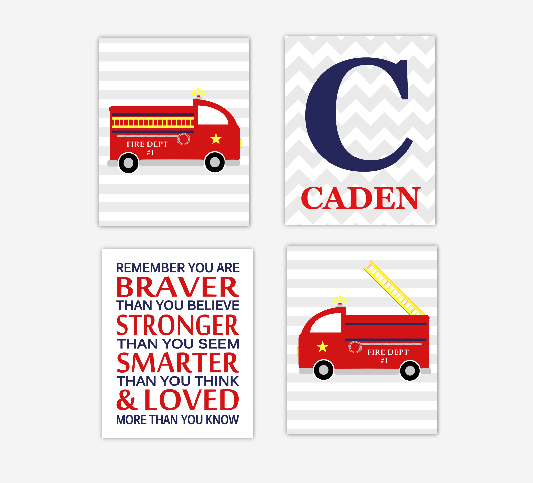 Baby Boy Nursery Decor Fire Trucks Fireman Monogram Name Boys Room Wall Decor Prints for Toddler Boys Baby Boy Nursery Decor Winnie The Pooh Quote You Are Braver SET OF 4 UNFRAMED PRINTS