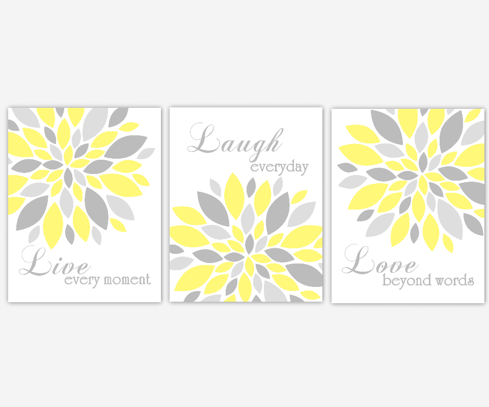 YELLOW Flower Wall Art Yellow Gray Live Laugh Love Prints Modern ...