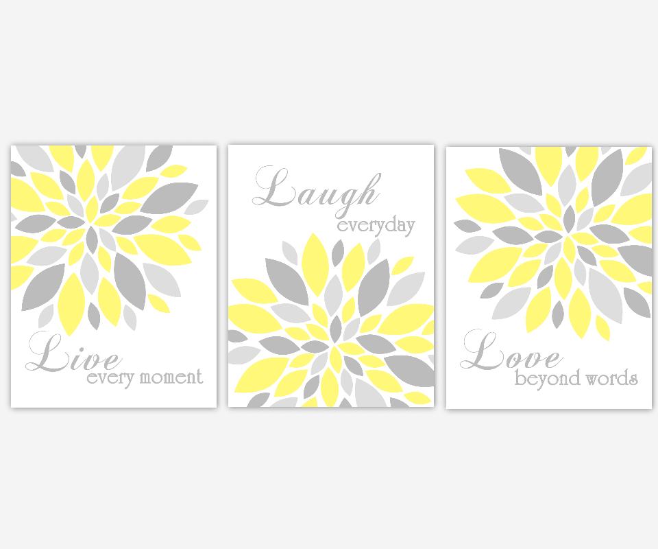 YELLOW Flower Wall Art Yellow Gray Live Laugh Love Prints Modern Flower  Wall Decor Flower Burst