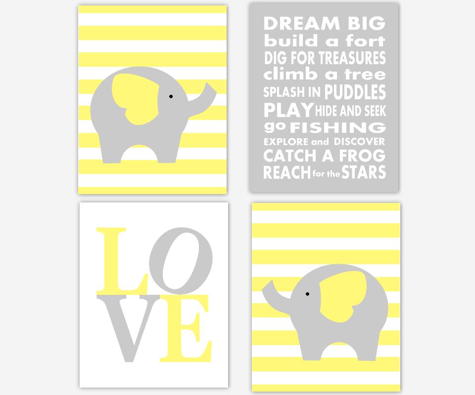 ELEPHANT Baby Boy Nursery Wall Art Yellow Gray Grey Dream Big Little ...