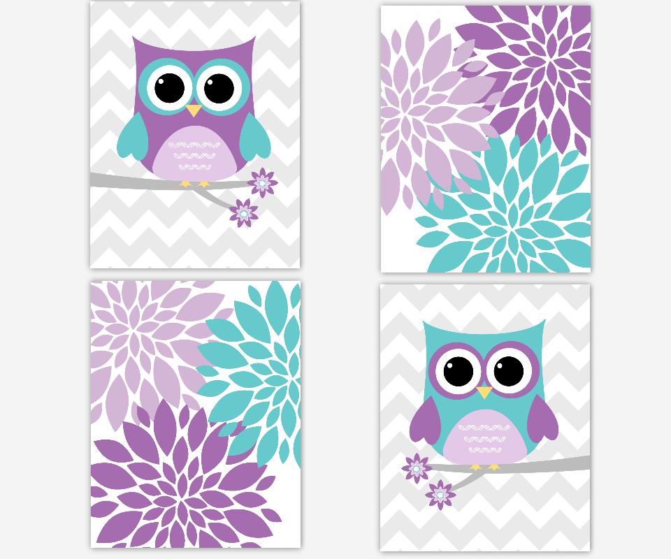Purple Teal Owl Nursery Wall Art Lavender Flower Burst Baby Girl Nursery  Decor Floral Girl Room Wall ... Part 53