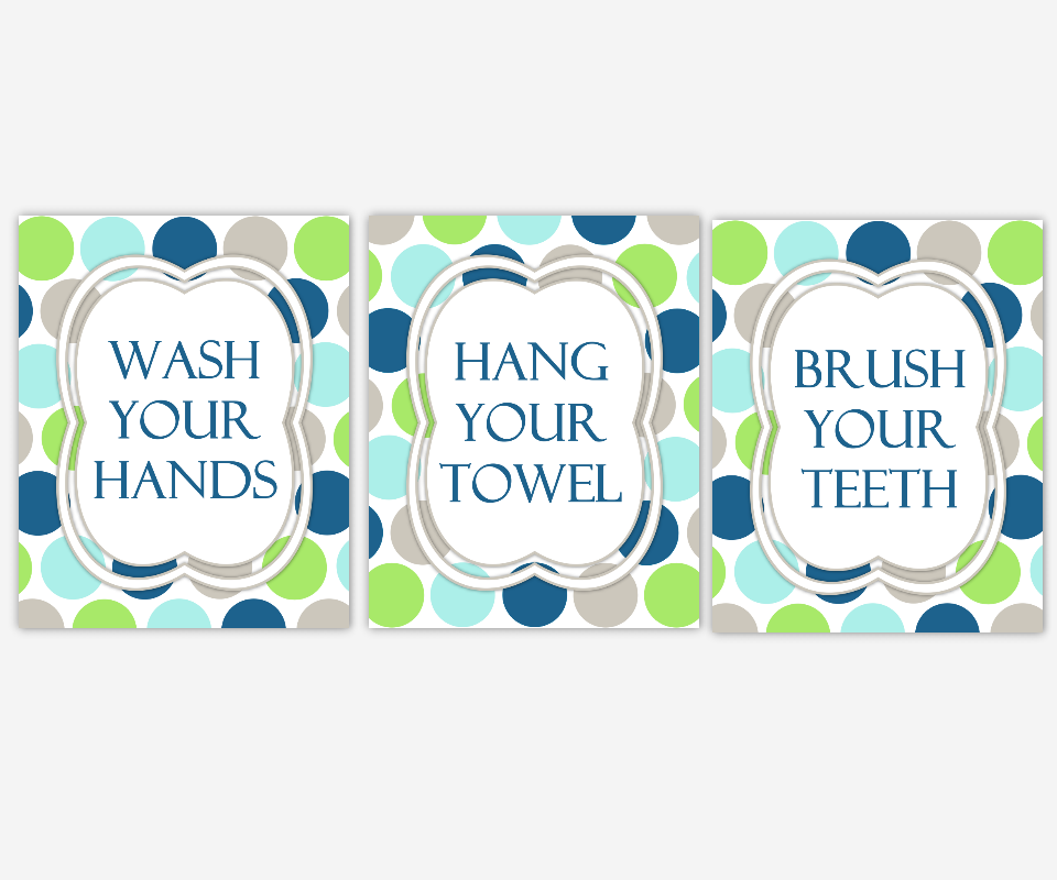 Kids Bath Wall Art Aqua Navy Blue Green Gray Wash Your Hands Brush Your Teeth Hang Your Towel Bathroom Rules Prints Bath Wall Prints Children's Bath Home Decor Bath Art SET OF 3 UNFRAMED PRINTS 00454