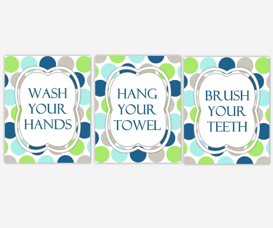 Kids Bath Wall Art Aqua Navy Blue Green Gray Wash Your