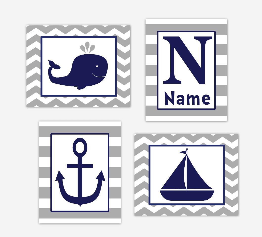 Nautical Baby Boy Nursery Art Navy Blue Gray Whale Anchor Sailboat Baby Nursery Decor SET OF 4 UNFRAMED PRINTS