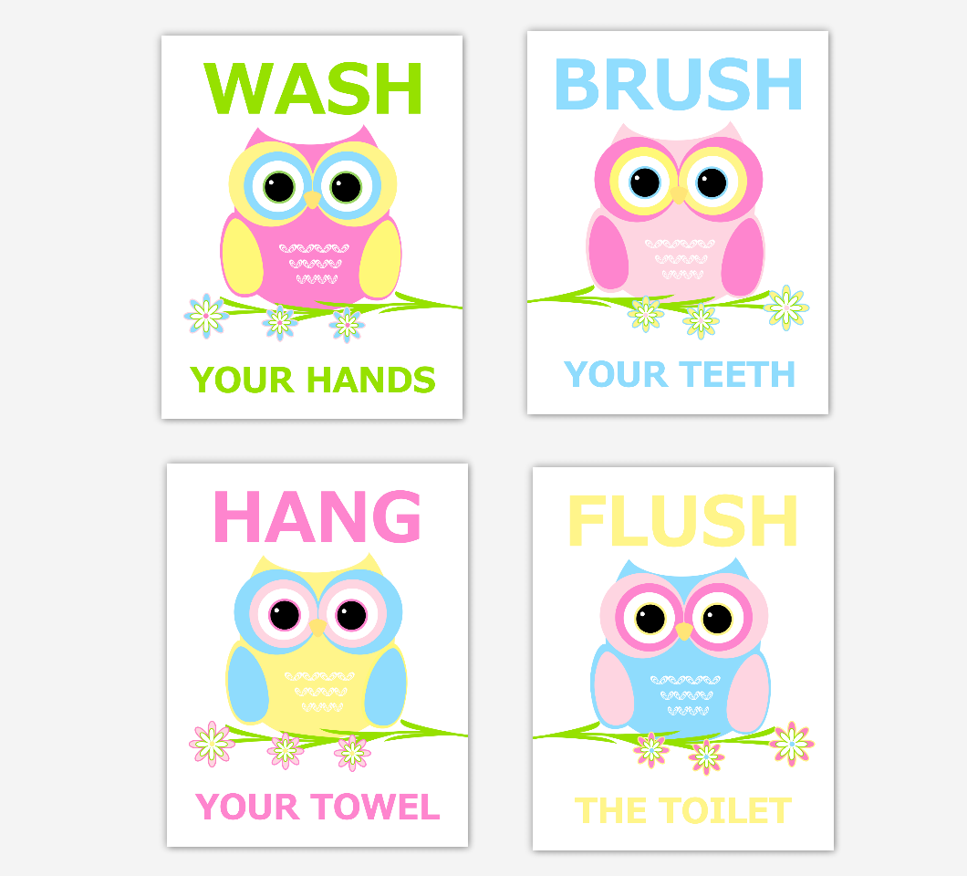 Owl Kids Bath Wall Art Pink Blue Yellow Wash Brush Hang Flush Children Bath Rules Artwork SET OF 4 UNFRAMED PRINTS 01437