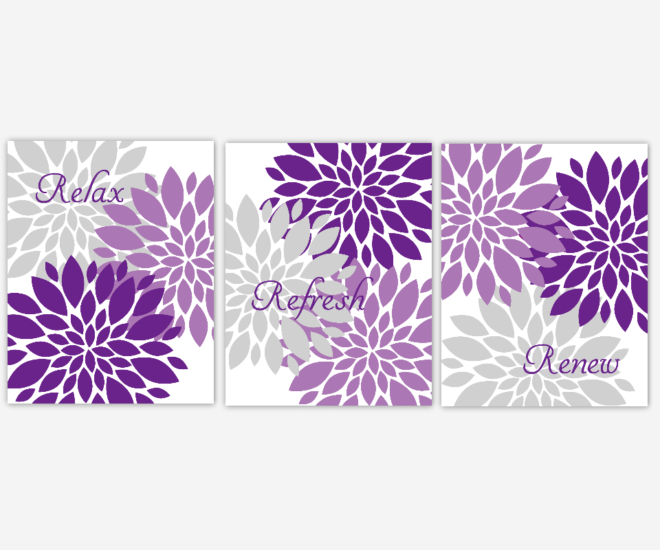 PURPLE Bathroom Wall Art Lavender Gray Purple Flower Bursts Dahlias Floral Prints Flower Art Girls Room Wall Decor Flower Home Decor Bath Prints Spa Bath Rest Relax Renew  SET OF 3 UNFRAMED PRINTS