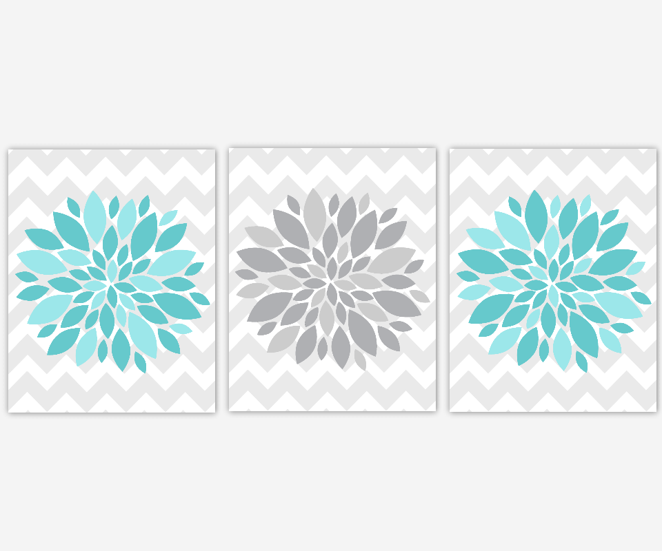 Flower Burst Prints Aqua Teal Gray Dahlias Floral Bath Art Girls Room Wall Art Baby Nursery Decor Spa Bath Flower Home Decor Chevron Wall Art Home Decor Prints SET OF 3 UNFRAMED PRINTS OR CANVAS