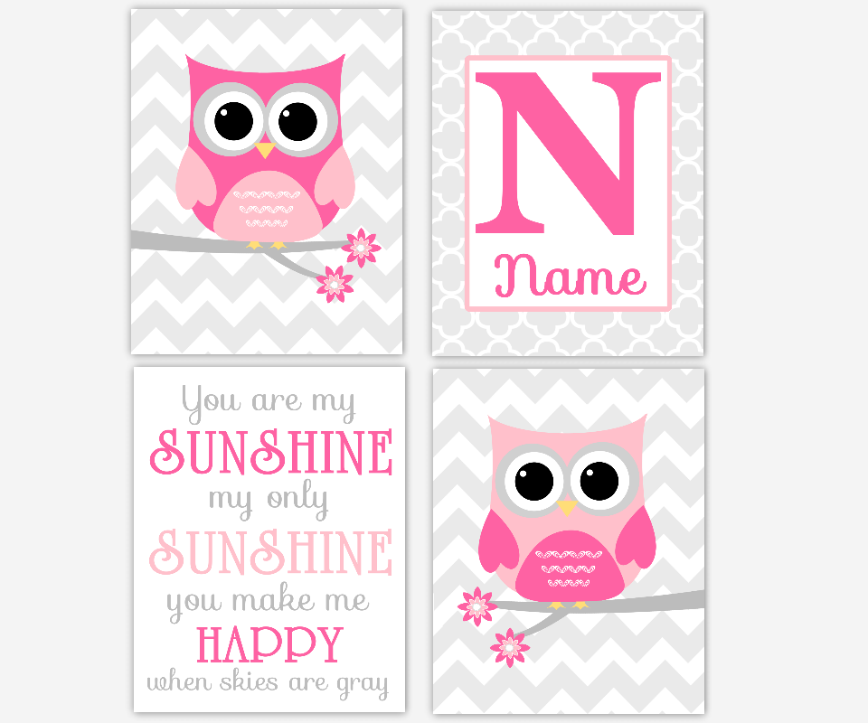 Baby Girl Nursery Wall Art Pink Gray Owl You Are My Sunshine ...