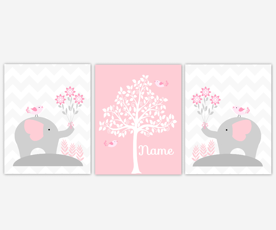 Baby Girl Nursery Wall Art Pink Gray Grey Elephants Silhouette Tree ...