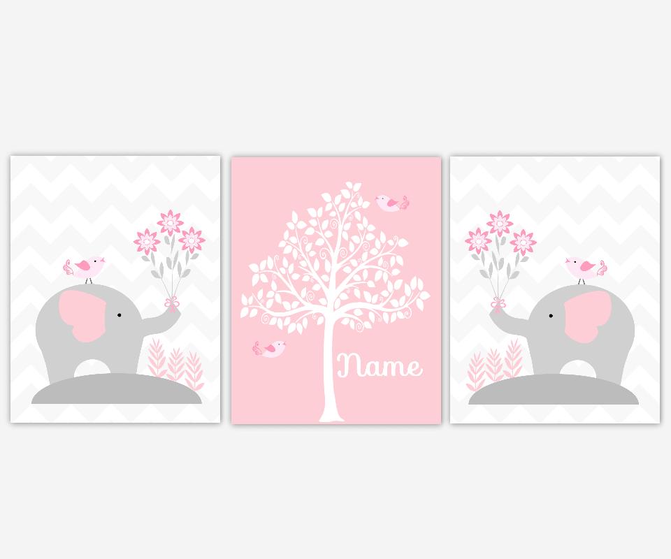 Baby Girl Nursery Wall Art Pink Gray Grey Elephants Silhouette Tree