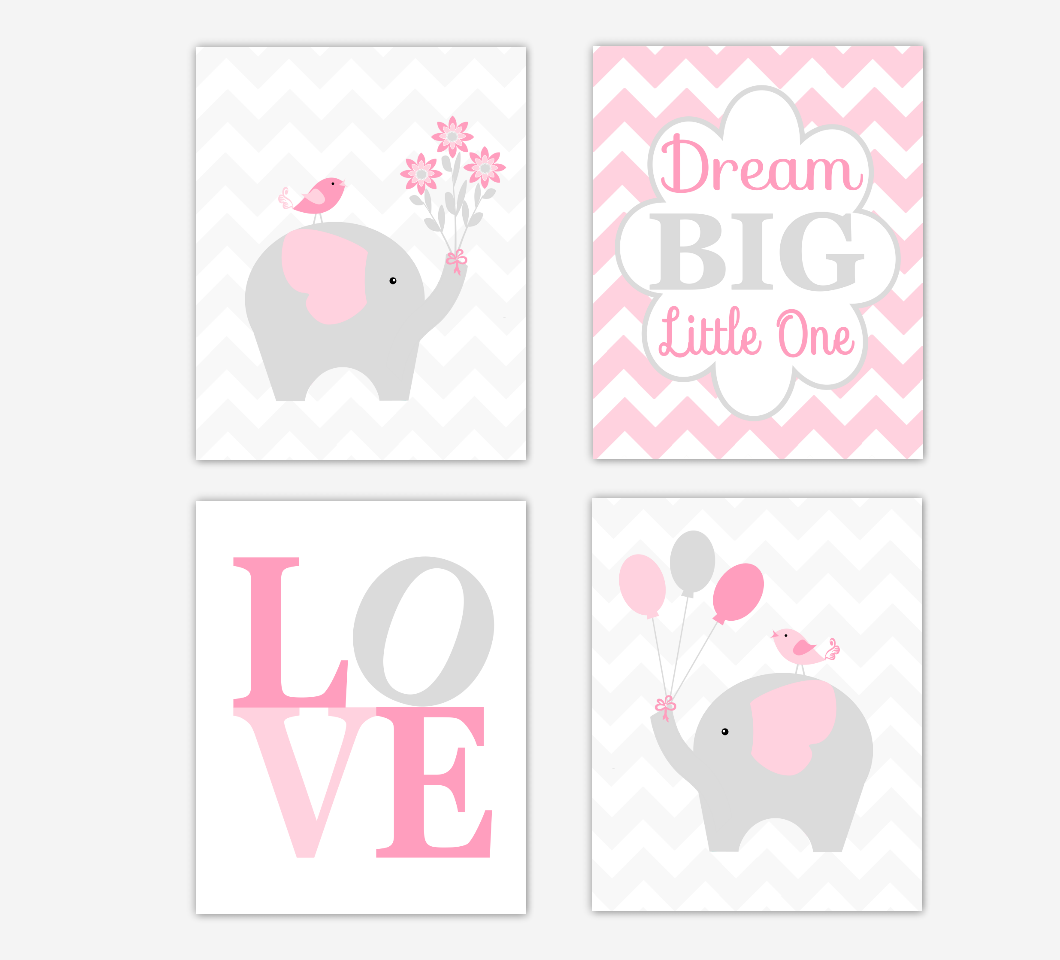 Pink And Gray Girls Baby Room: ELEPHANT Baby Girl Nursery Wall Art Pink Gray Dream Big