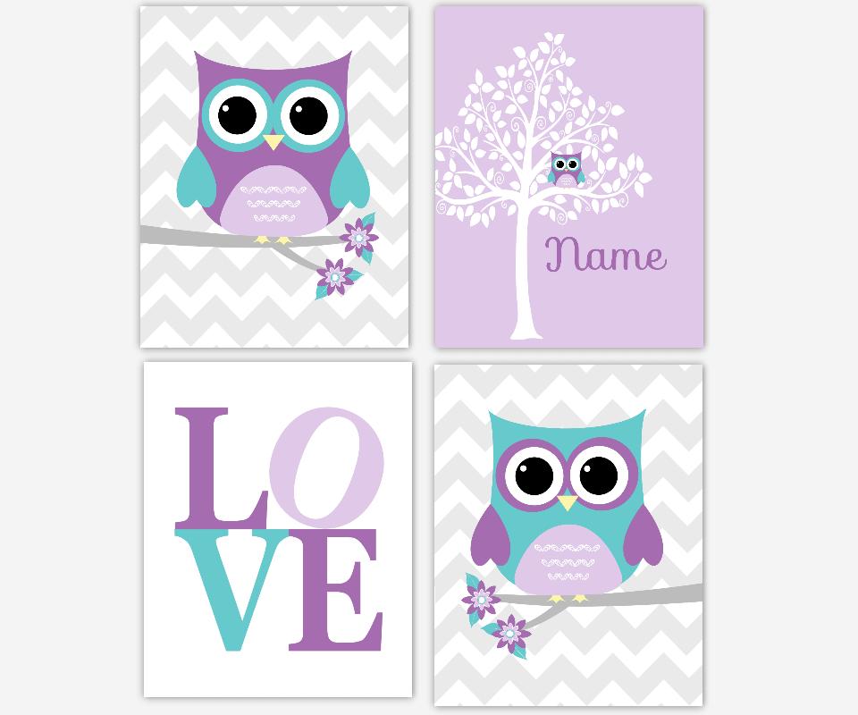 Baby Girl Nursery Art Purple Teal Lavender Gray Owls Owl