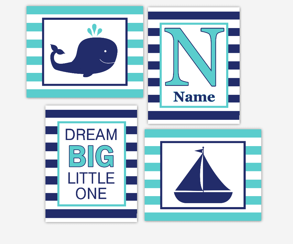 NAUTICAL Baby Boy Nursery Wall Art Navy Blue Turquoise Teal Whale Boat Personalized Art Dream Big Boy Room Wall Decor Whale Wall Decor Print