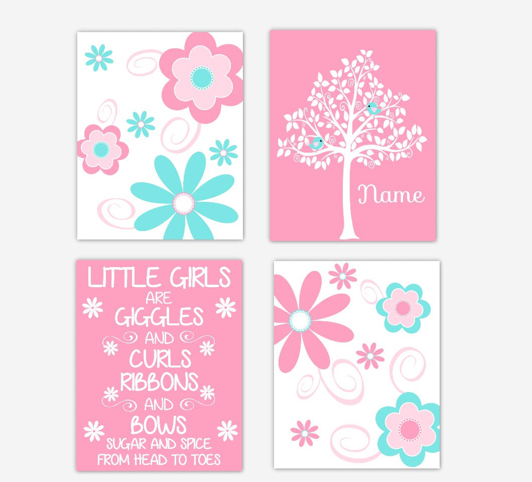 Floral Baby Girl Nursery Art Pink Aqua Teal Personalized Flower Prints Little Girl Giggles and Curls 01611