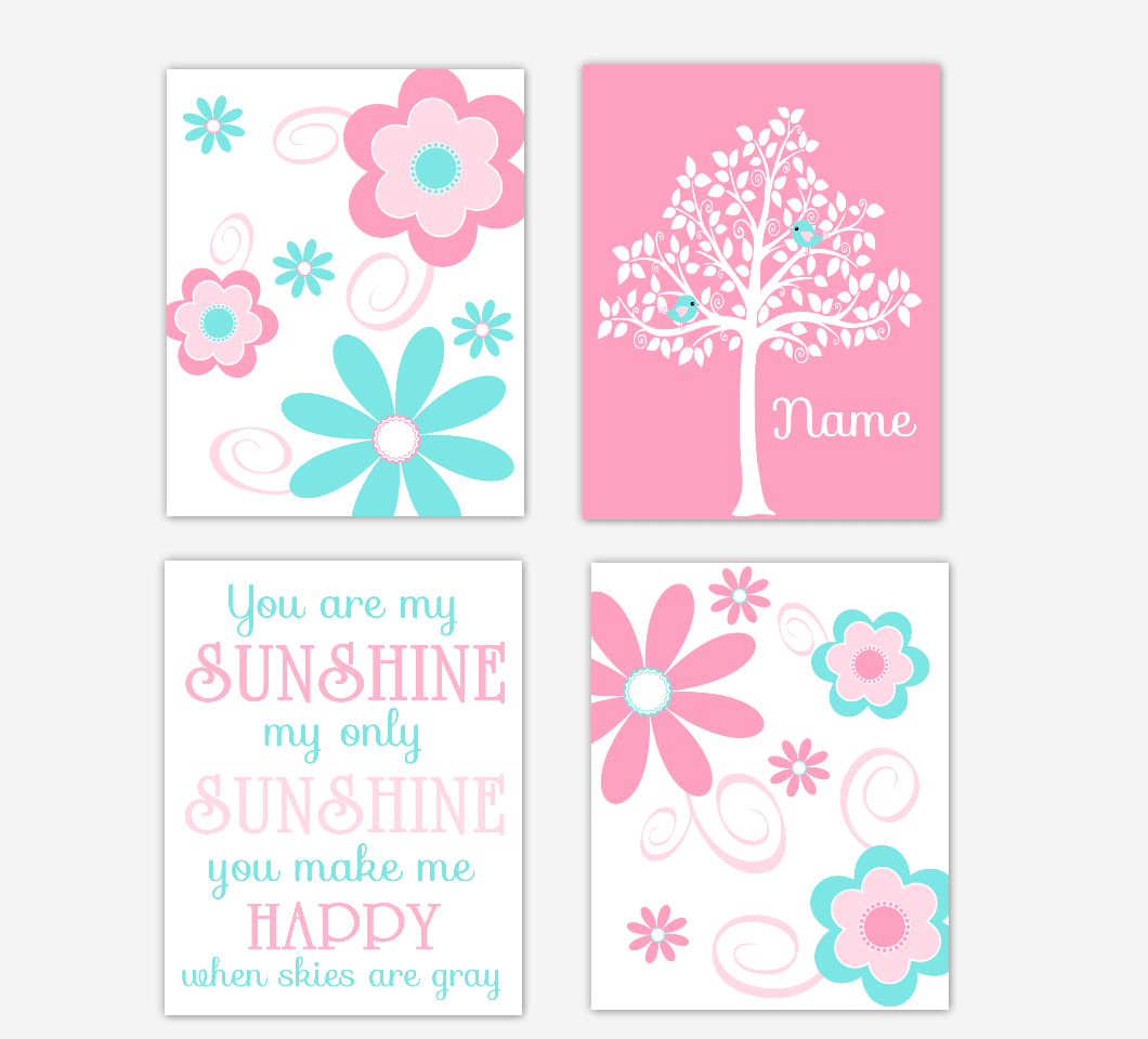 Floral Baby Girl Nursery Art Pink Aqua Teal Personalized Flower Prints You Are My Sunshine Baby Nursery Decor 01612