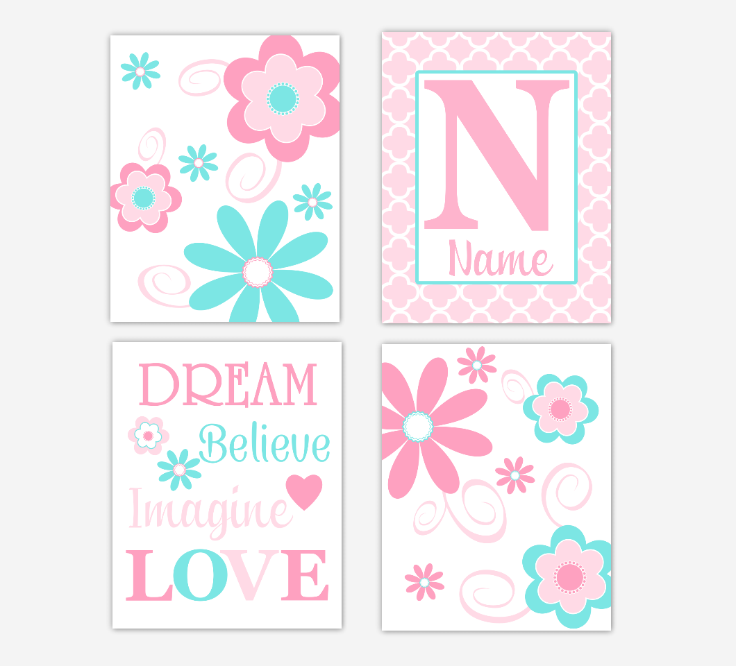 Floral Baby Girl Nursery Art Pink Aqua Teal Personalized Flower Prints Dream Believe Imagine LOVE Baby Nursery Decor 01613