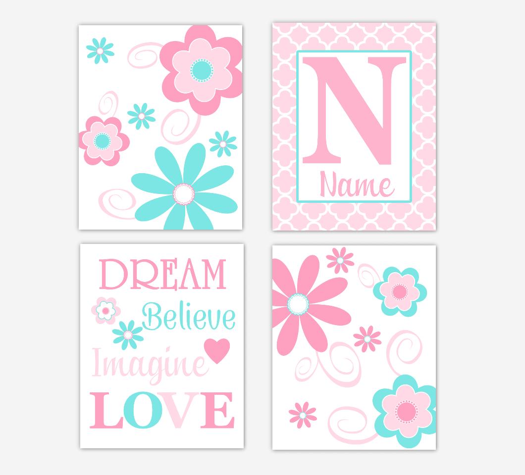 Floral Baby Girl Nursery Art Pink Aqua Teal Personalized Flower Prints Dream Believe Imagine LOVE Baby Nursery Decor