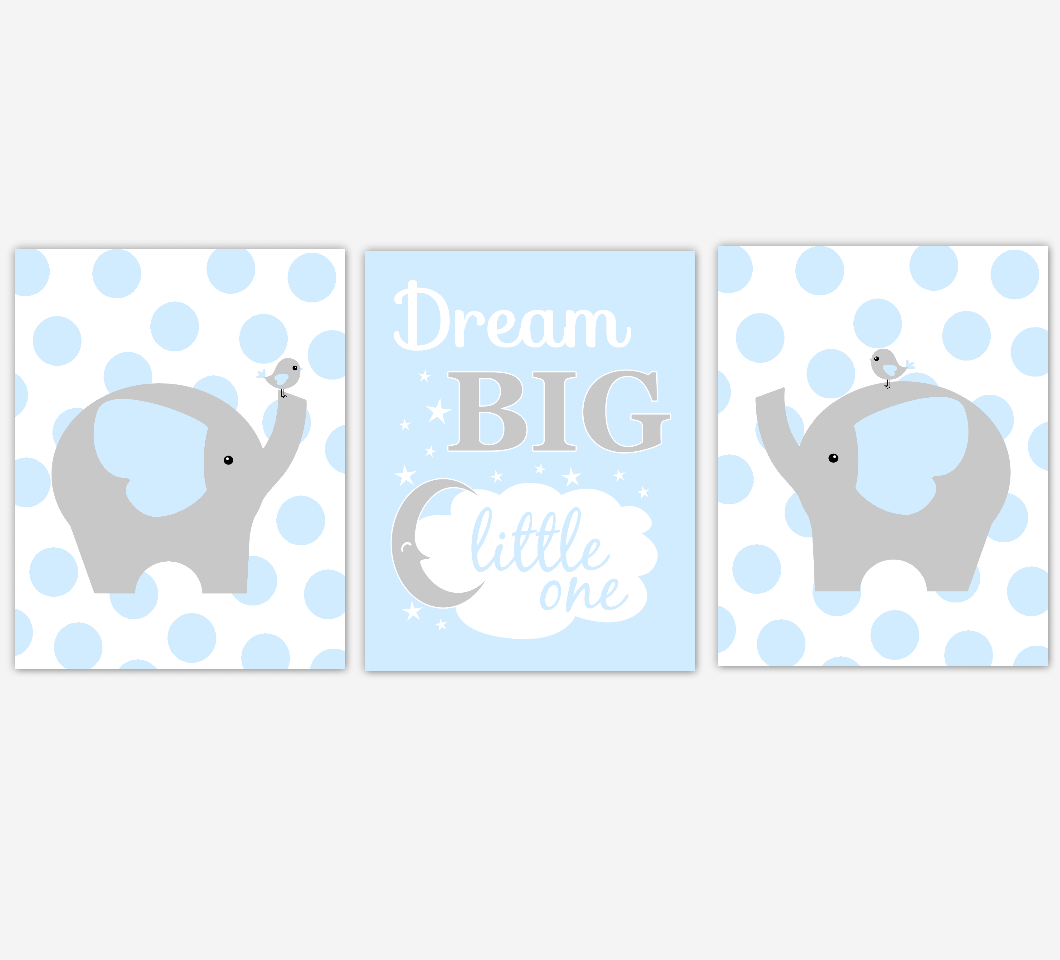 Baby Boy Nursery Wall Art Blue Gray Elephant Jungle Safari Animals Dream Big Baby Nursery Decor