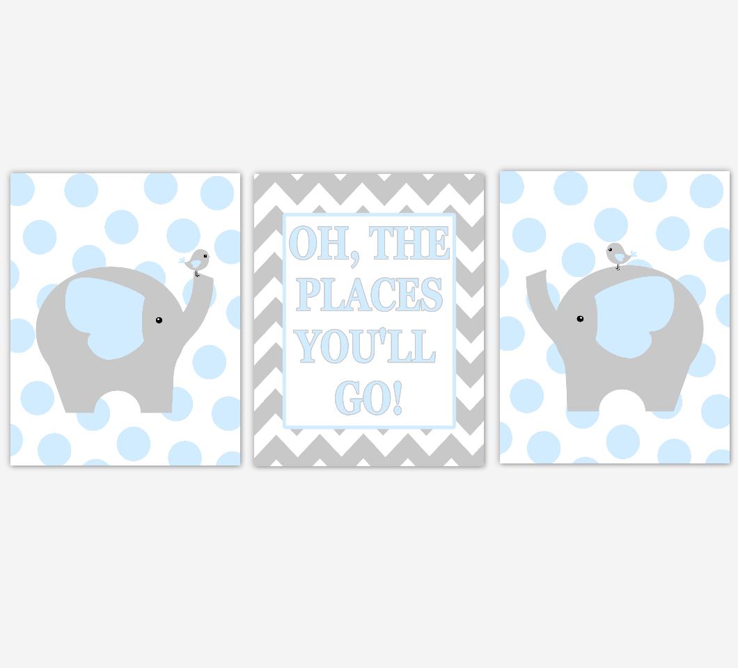 Baby Boy Nursery Wall Art Blue Gray Elephant Jungle Safari Animals Oh The Places You'll Go Baby Nursery Decor 01622