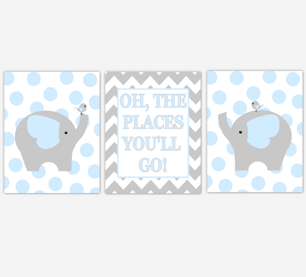 Baby Boy Nursery Wall Art Blue Gray Elephant Jungle Safari Animals Oh The Places You'll Go Baby Nursery Decor