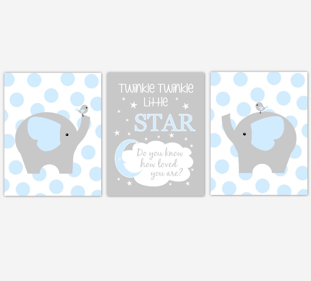 Baby Boy Nursery Wall Art Blue Gray Elephant Jungle Safari Animals Twinkle Little Star Baby Nursery Decor