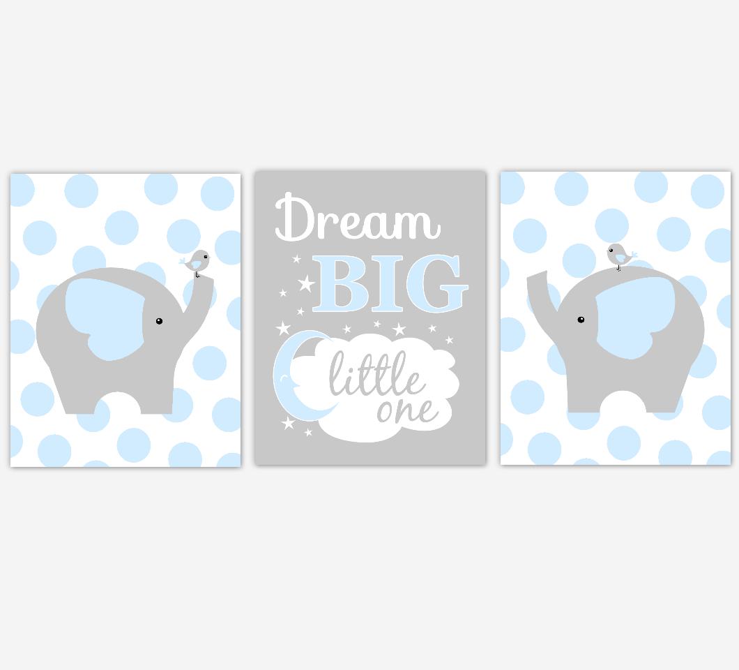 Baby Boy Nursery Wall Art Blue Gray Elephant Jungle Safari Animals Dream Big Little One Baby Nursery Decor