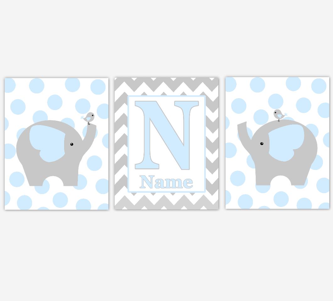 Elephant Baby Boy Nursery Art Blue Gray Personalized Name Print Baby Nursery Decor 01625
