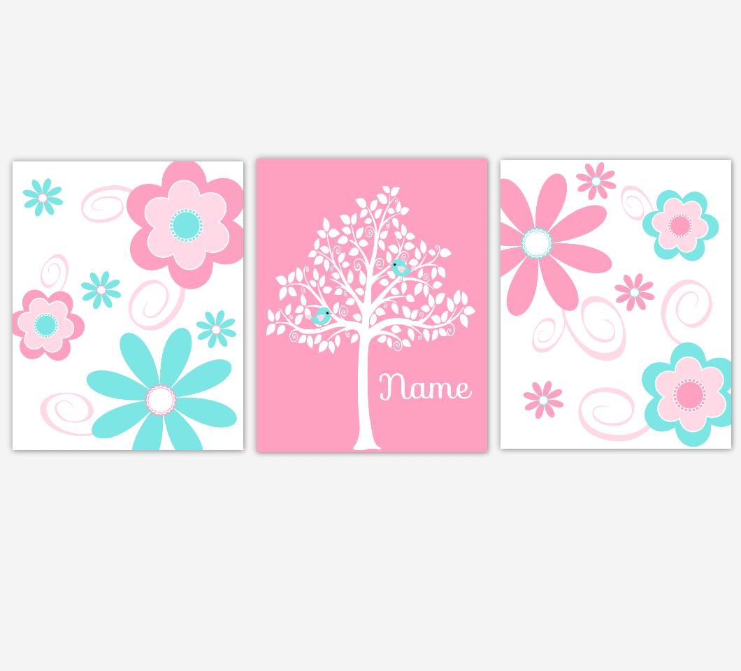 Baby Girl Nursery Art Pink Aqua Flowers Floral Personalized Tree Print Baby Nursery Decor Baby Nursery Decor 01626