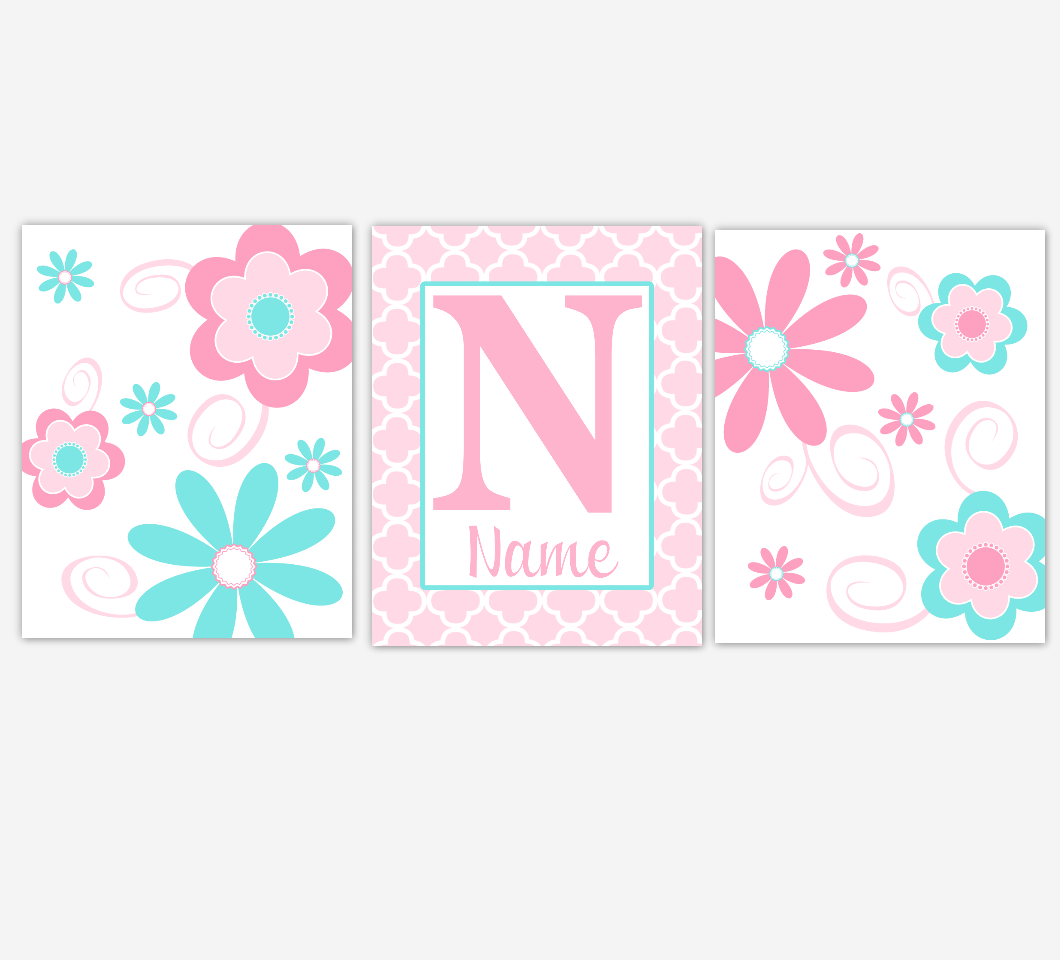 Baby Girl Nursery Art Pink Aqua Flowers Floral Personalized Print Baby Nursery Decor Baby Nursery Decor 01627